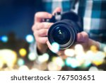 professional photographer with... | Shutterstock . vector #767503651