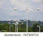 street lighting during daytime. ... | Shutterstock . vector #767503711
