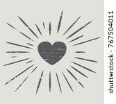 heart. sunburst. vintage style. ... | Shutterstock .eps vector #767504011