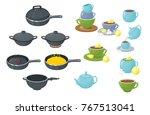 pan frying pan crockery | Shutterstock .eps vector #767513041