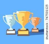 trophy cup flat vector set.... | Shutterstock .eps vector #767531125