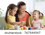 teacher and kids pupils in the... | Shutterstock . vector #767544547