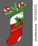 vector hand drawn christmas... | Shutterstock .eps vector #767552575