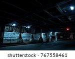 dark chicago city street with... | Shutterstock . vector #767558461