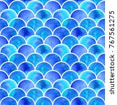 watercolor blue scales of... | Shutterstock . vector #767561275