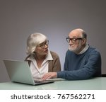 ssenior couple looking at a... | Shutterstock . vector #767562271