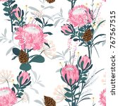 seamless pattern with protea... | Shutterstock .eps vector #767567515