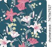 beautiful blooming seamless... | Shutterstock .eps vector #767567527