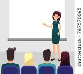 cartoon flat women with pointer ... | Shutterstock . vector #767570065