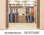 modern wooden wardrobe with... | Shutterstock . vector #767573287