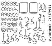 vector set of smartphone cartoon | Shutterstock .eps vector #767579581
