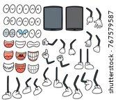 vector set of smartphone cartoon | Shutterstock .eps vector #767579587