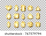 set of vector realistic golden...