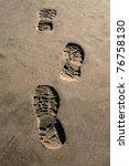 Footprint Shoe On Beach Brown...