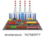 factory building and freight... | Shutterstock .eps vector #767585977