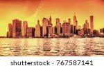 hdr panorama of lower manhattan ... | Shutterstock . vector #767587141
