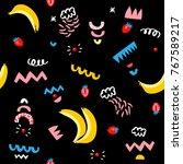vegetarian seamless pattern... | Shutterstock .eps vector #767589217