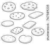 vector set of cookies and... | Shutterstock .eps vector #767589235