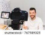 education video blog filming... | Shutterstock . vector #767589325