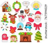 christmas and new year color... | Shutterstock .eps vector #767594029