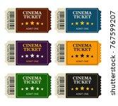 set designed cinema tickets top ... | Shutterstock .eps vector #767599207