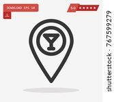 outline map pin icon isolated...