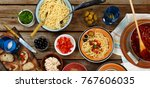 traditional italian food. pasta ... | Shutterstock . vector #767606035