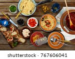traditional italian food. pasta ... | Shutterstock . vector #767606041
