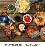 traditional italian food. pasta ...   Shutterstock . vector #767606044
