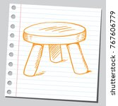 drawing of a three legged stool   Shutterstock .eps vector #767606779