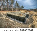 new concrete house foundation... | Shutterstock . vector #767609947