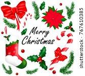 bright set of christmas design... | Shutterstock .eps vector #767610385