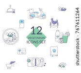 organic food icons. vegetarian... | Shutterstock .eps vector #767611264