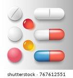 vector group of various pills... | Shutterstock .eps vector #767612551