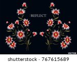 vintage floral embroidery... | Shutterstock .eps vector #767615689