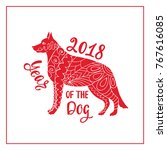 Stock vector red dog is a symbol chinese new year dog silhouette in zentangle style vector illustration 767616085