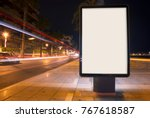blank advertisement mock up ... | Shutterstock . vector #767618587
