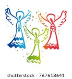 three angels. angel with a... | Shutterstock .eps vector #767618641