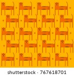 abstract tigers on a field.... | Shutterstock . vector #767618701