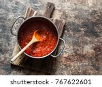 classic homemade tomato sauce... | Shutterstock . vector #767622601