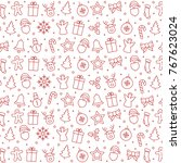 merry christmas icon pattern... | Shutterstock .eps vector #767623024