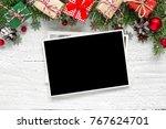 christmas blank photo frame... | Shutterstock . vector #767624701