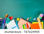 school and office supplies on... | Shutterstock . vector #767624905