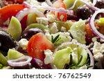 greek salad  in closeup. ... | Shutterstock . vector #76762549