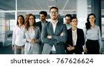 happy business people... | Shutterstock . vector #767626624