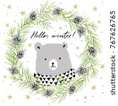 cute gray bear in pine and... | Shutterstock .eps vector #767626765