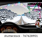 winter road in snowfall from... | Shutterstock .eps vector #767628901