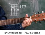 Small photo of Man in a blue denim shirt playing guitar chords displayed on a blackboard, Chord B7