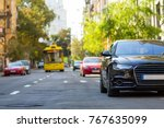 modern new car on the side of... | Shutterstock . vector #767635099