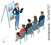 isometric people  briefing ... | Shutterstock .eps vector #767635717